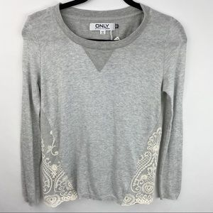 Only grey sweatshirt with lace detail